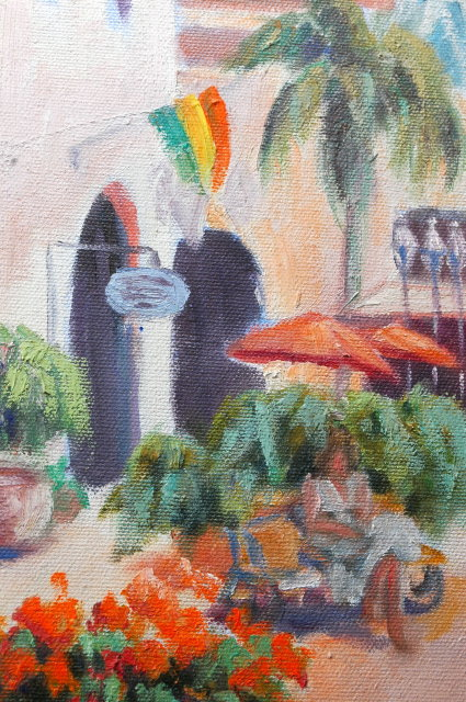 Caribbean Side Walk Scene Oil Painting on Canvas