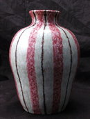 Hand Thrown Pottery Vase Pink  Brown  Stripes on Oyster  Glaze * PRICED REDUCED! **