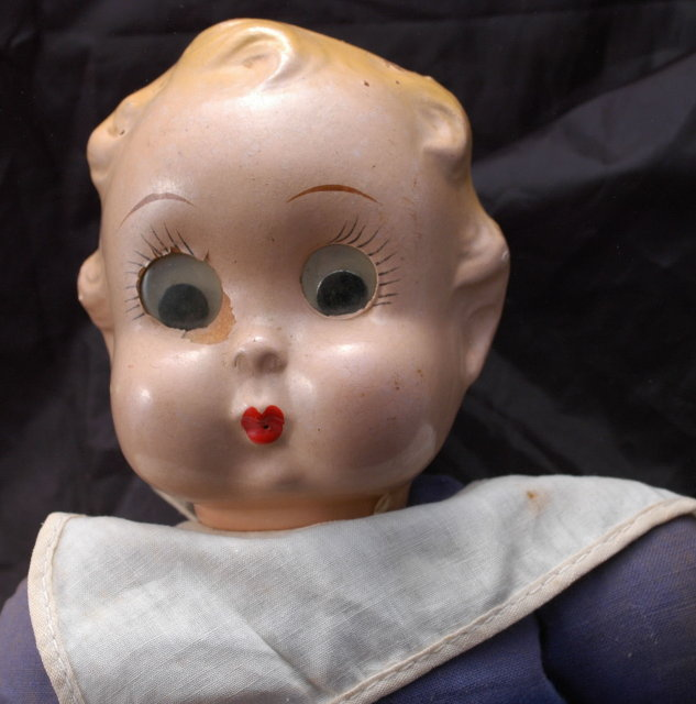 Ralph A. Freundlich, Inc. Googly Eyed Sailor Boy Doll 1937 / Composition head, cloth body with oversized legs