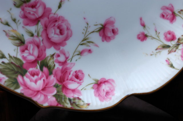 Lefton Hand Painted Rose  Serving  Plate