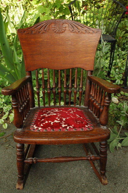 Old Pressed Back Child's Rocking Chair
