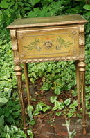 Antique painted small  table or stand  with drawer