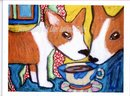Do Pembroke Welsh Corgis Have Coffee? by  Kimberly Helgeson Sams, signed, limited and numbered  gicle'e print  2004