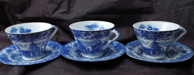 Set of 3 Blue and White Porcelain China Tea Cups, with Saucers  Marked Made in Japan