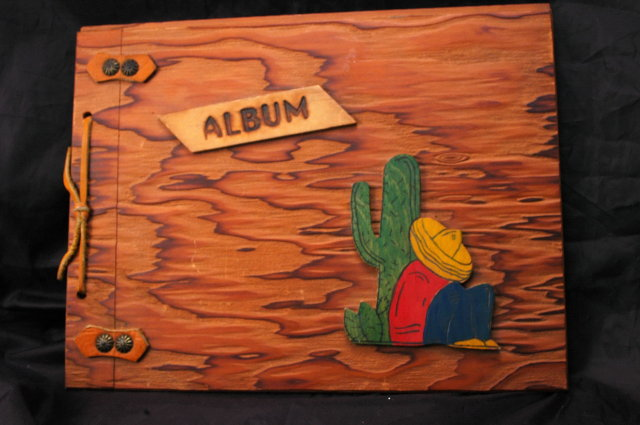 Vintage Wood Covered Mexican Theme Scrapbook Photo Album  -unused