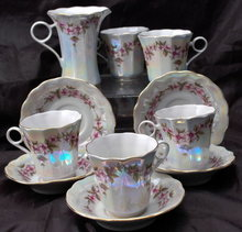 Korosten Porcelain Ukraine Russian Luster  11 Piece Demitasse Tea Set