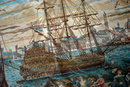 Classic Scene  Tapestry Tall Mast Sailing Ship in a colonial harbor.