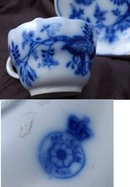 Meissen China Flow Blue Onion Pattern Tea Cup Saucer x 2