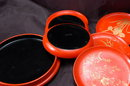 Vintage Japanese Lacquer-ware Wood Coaster with Container   Cinnabar  Black and Gold