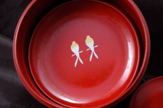 Vintage Japanese Lacquer-ware  Coaster with Container   Cinnabar    and Gold