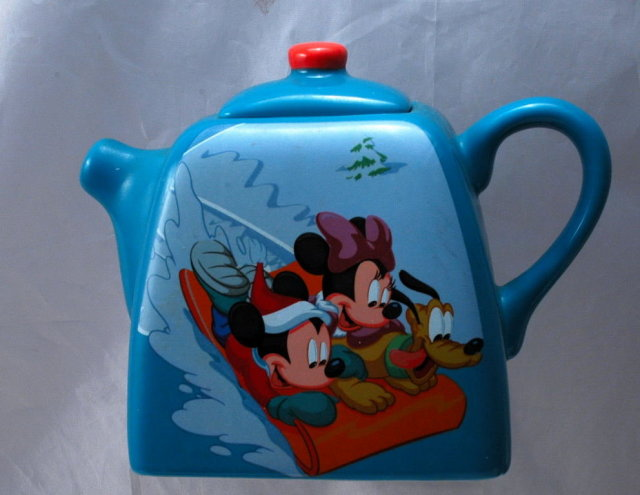 Disney Houston Harvest , Mickey, Minnie, Pluto Ceramic  Porcelain Teapot.