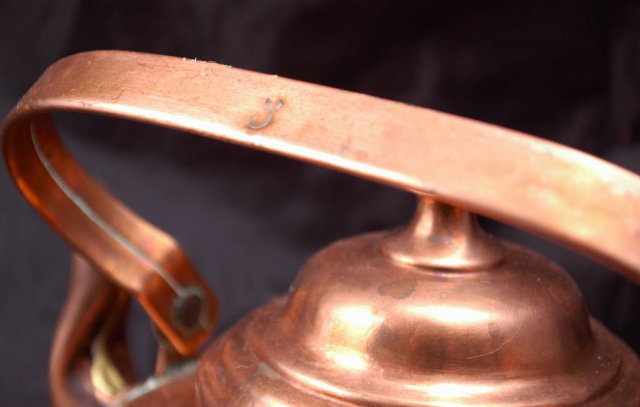 Swedish Copper Tea Kettle , old hand hammered for wood stove top