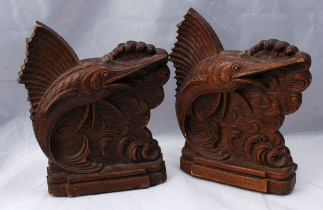 Sail Fish Bookends of Syroco Wood