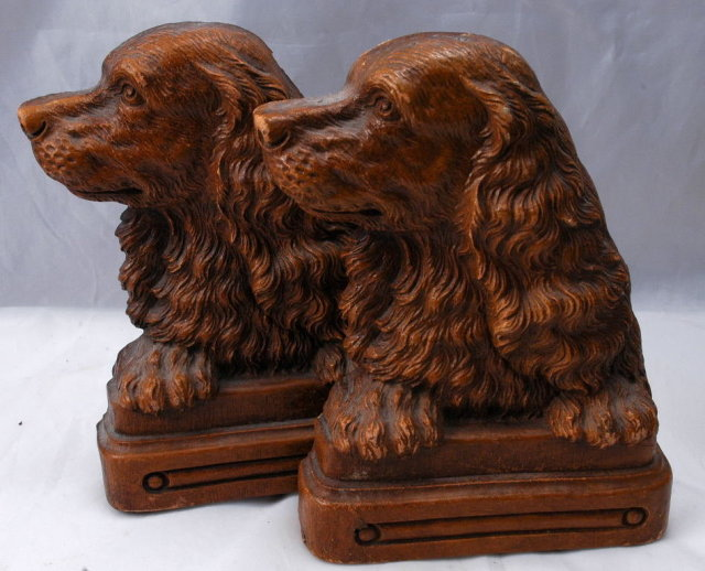 Dog Bookends of Syroco Wood