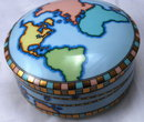Tiffany & Co. World Map Signed Porcelain Trinket Box