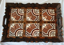 Old Mexican Folk Art Carved Wood &  Spanish Tile Tray