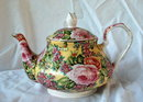 Porcelain Rose Chintz English Teapot