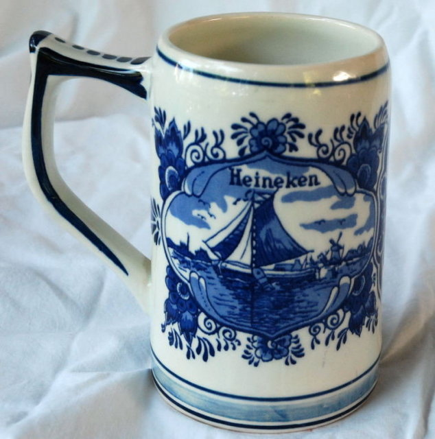 Blue Delft Heineken Beer Stein , hand painted in Holland