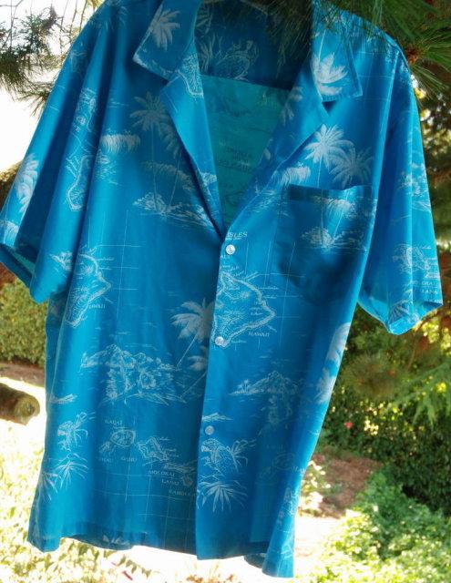Map of Hawaii Theme Vintage Hawaiian Shirt  XL