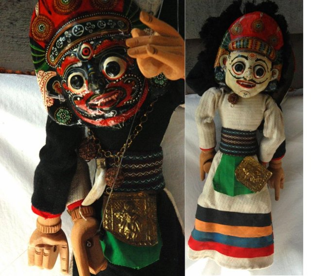 Marionet Puppet, with Dual Masked Faces, Folk Art,   Hand Made in Thailand